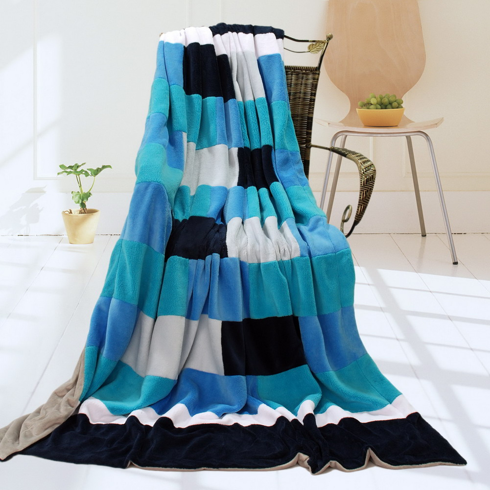 Blancho Bedding Onitiva - [Blue & White] Soft Coral Fleece Patchwork Throw Blanket (59 by 78.7 inches)