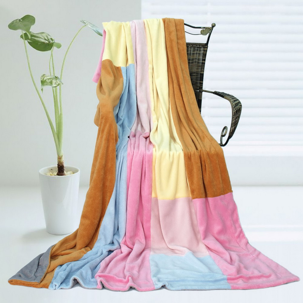 Blancho Bedding Onitiva - Spring Breeze Soft Coral Fleece Patchwork Throw Blanket 59 by 78.7 inches