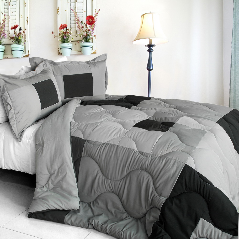 Blancho Bedding [Jo of Eric] Quilted Patchwork Down Alternative Comforter Set (Full/Queen Size)