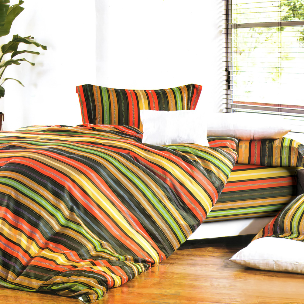 Blancho Bedding [Colorful Stripe] Luxury 4PC Comforter Set Combo 300GSM (Twin Size) at Sears.com