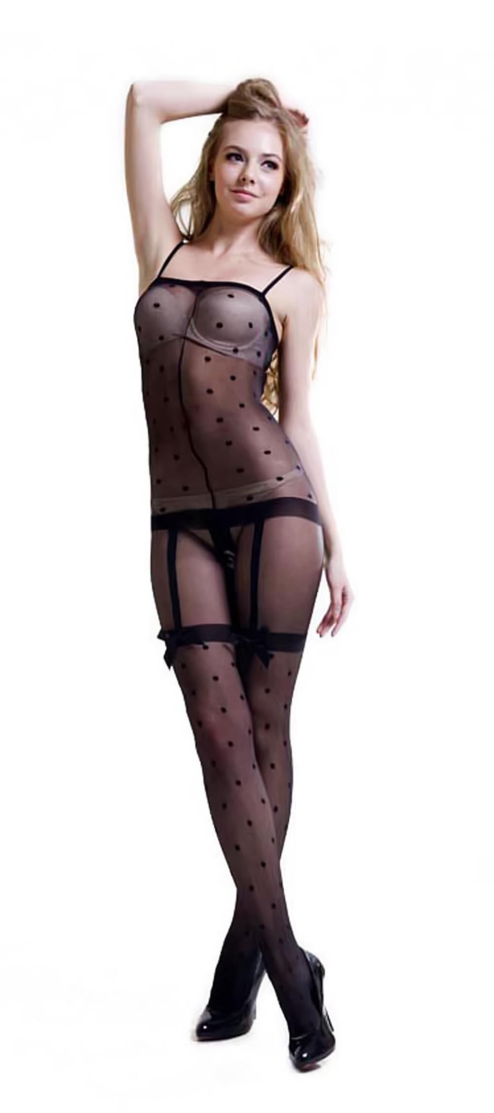 Black Sheer Dots Lace Cami Body Stocking