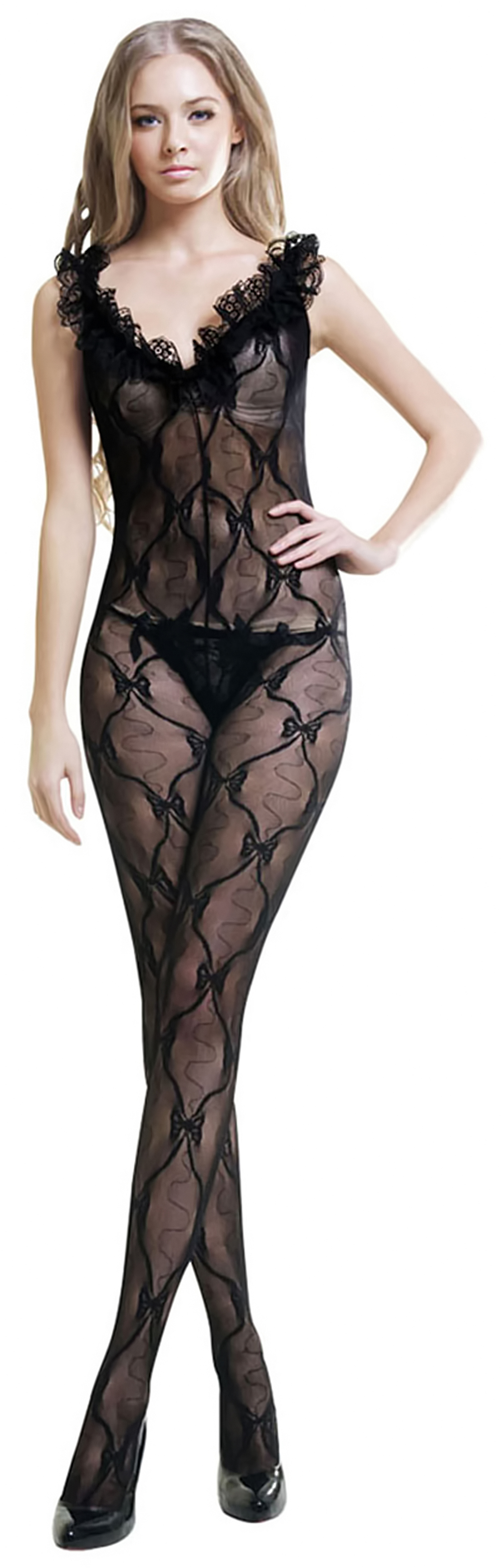 Black Sheer French Lace Butterfly Embroidery Cami Body Stocking