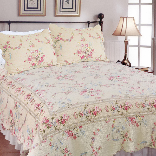 Blancho Bedding [Sweet Princess] 100% Cotton 3PC Embroidered Intricate Stitching Quilt Set (Full/Queen Size) at Sears.com