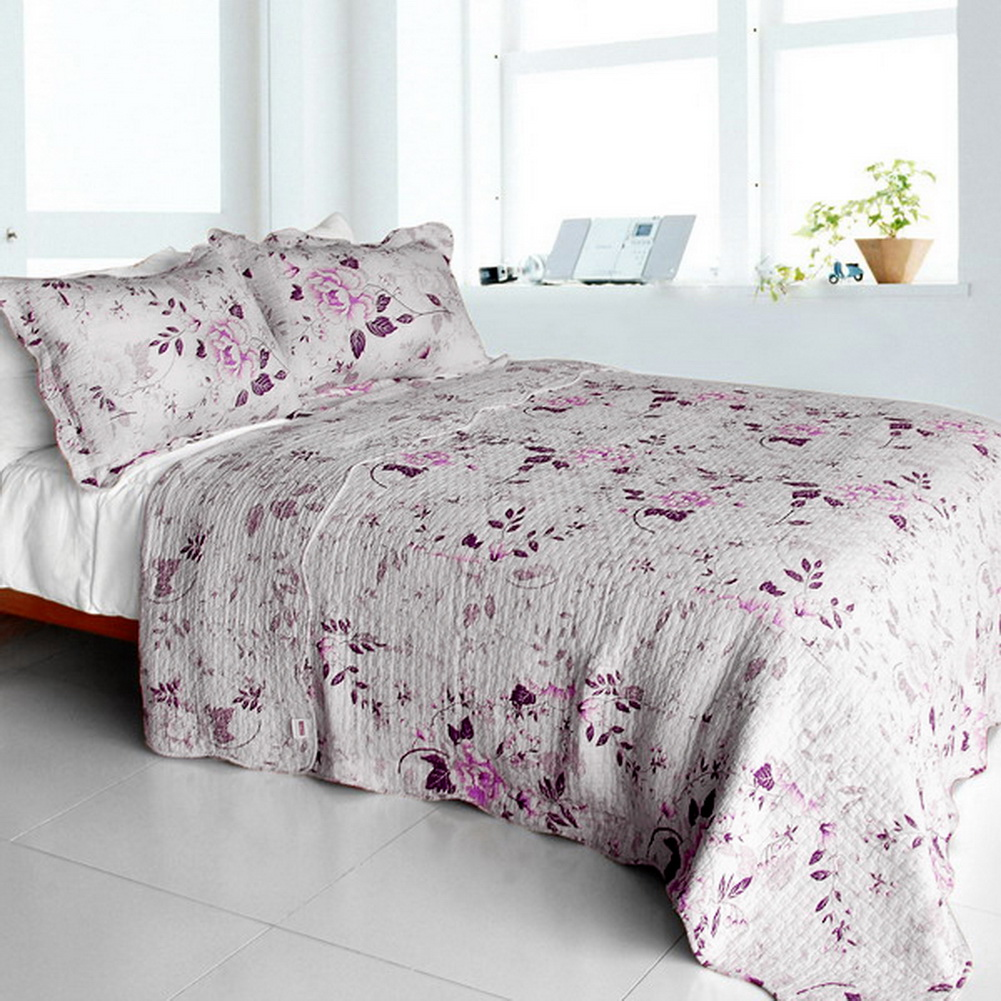 Blancho Bedding [Glam Princess] Cotton 3PC Vermicelli-Quilted Floral Printed Quilt Set (Full/Queen Size) at Sears.com