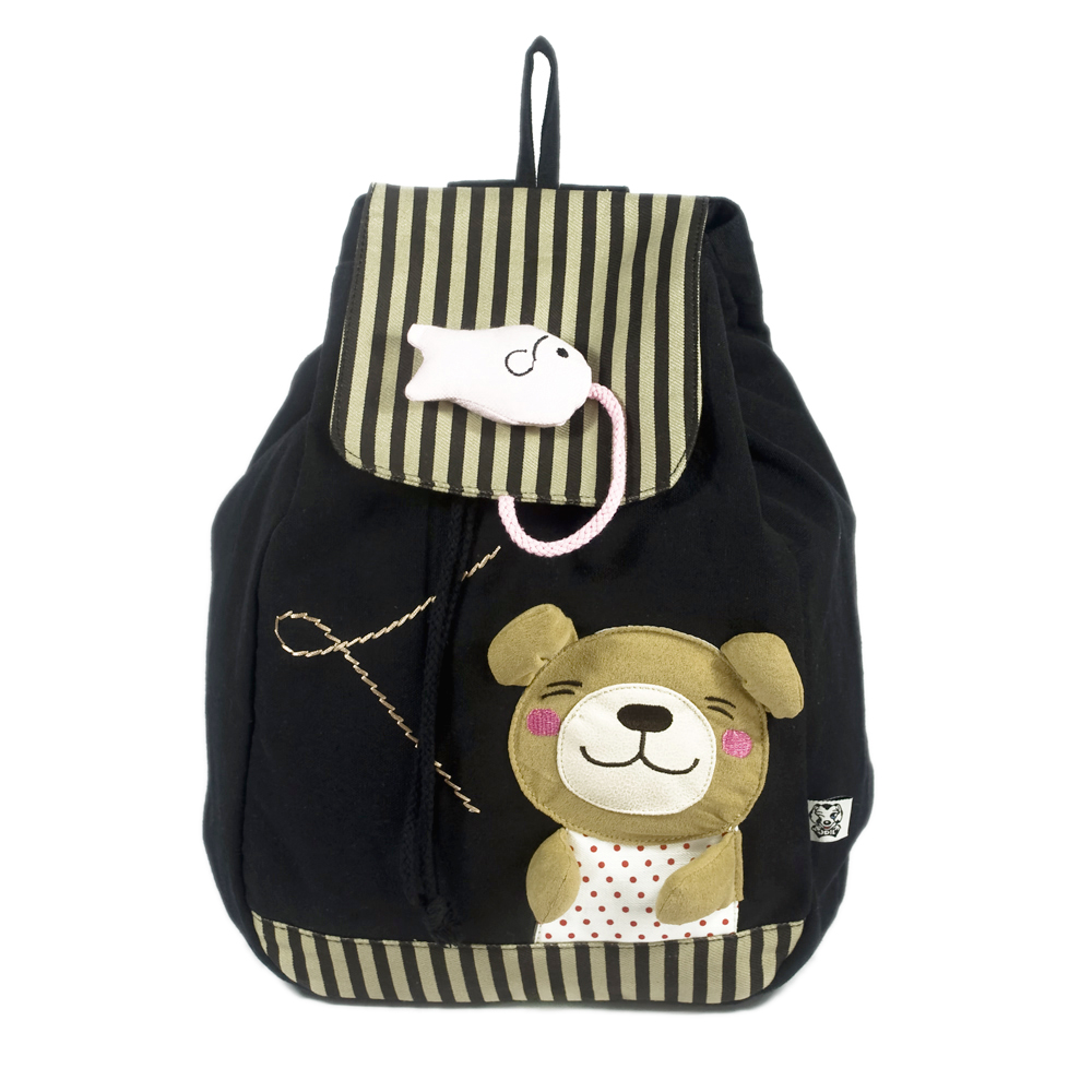[bear & Fish] 100% Cotton Fabric Art School Backpack / Outdoor Backpack