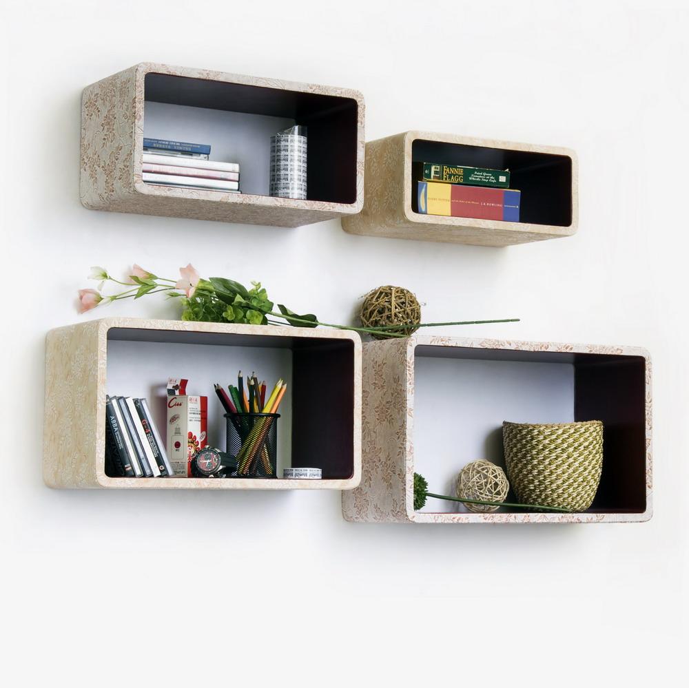 Trista - [blossom Season] Rectangle Leather Wall Shelf / Bookshelf / Floating Shelf (set Of 4)