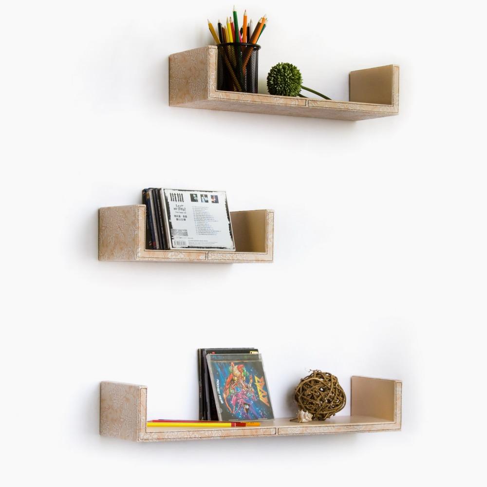 Trista - [beige Flower Pattern] U-shaped Leather Wall Shelf / Bookshelf / Floating Shelf (set Of 3)