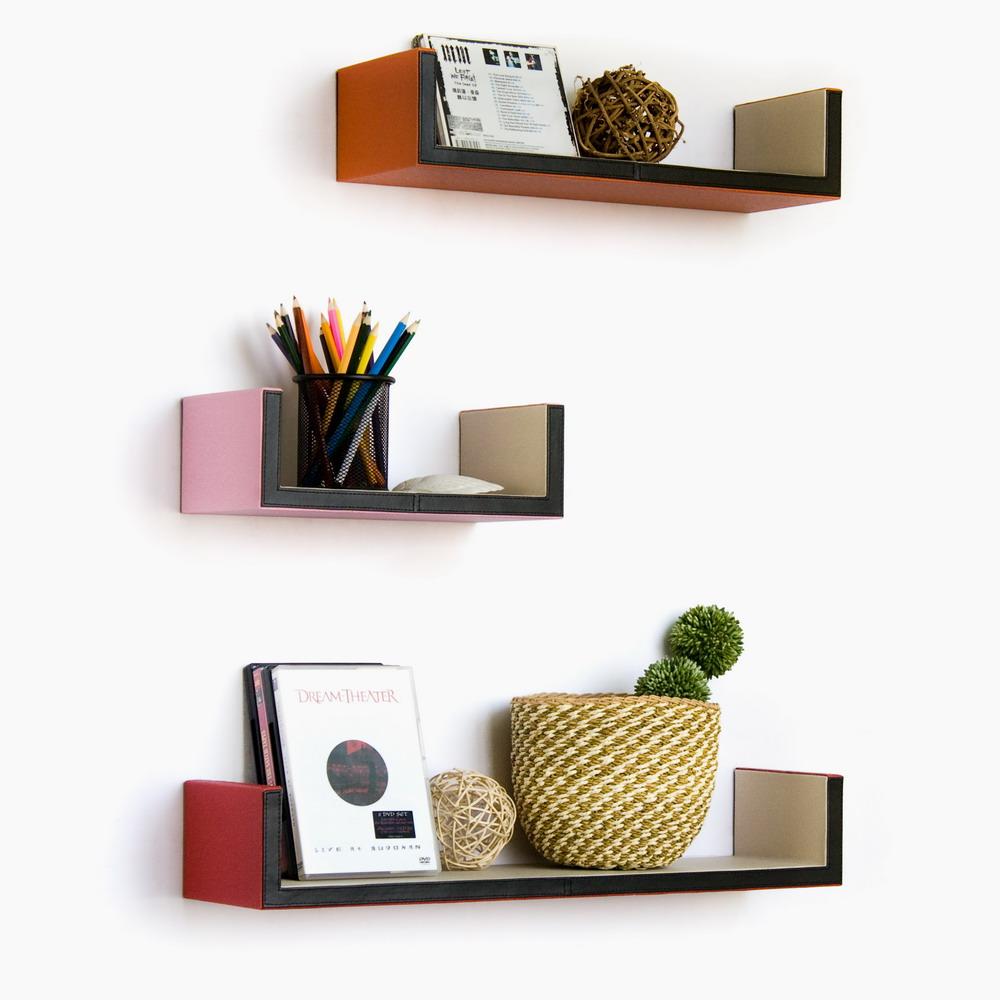 Trista - [bonny Bonny] U-shaped Leather Wall Shelf / Bookshelf / Floating Shelf (set Of 3)