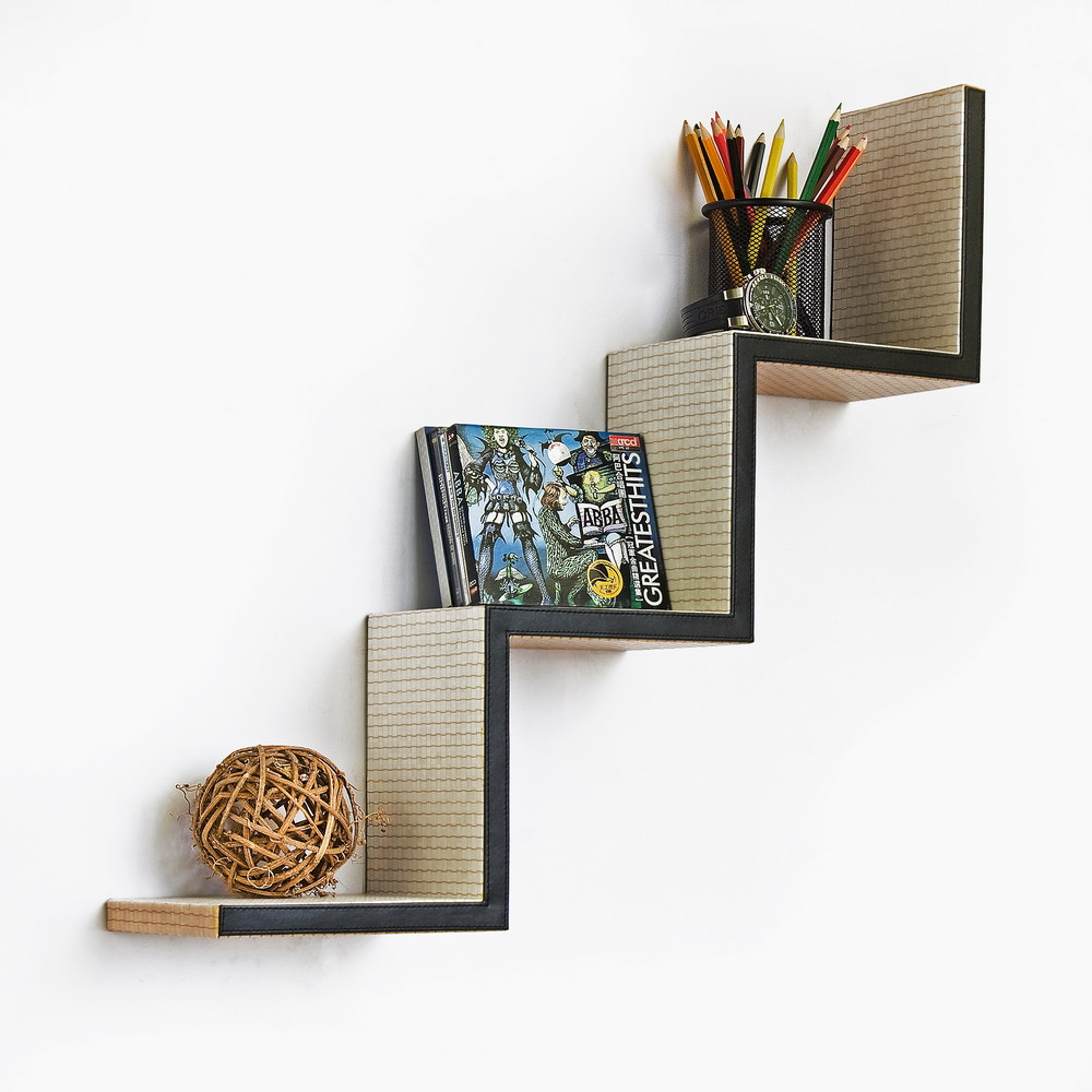Trista - [artistic Conception] Ladder-shaped Leather Shelf / Bookshelf / Floating Shelf
