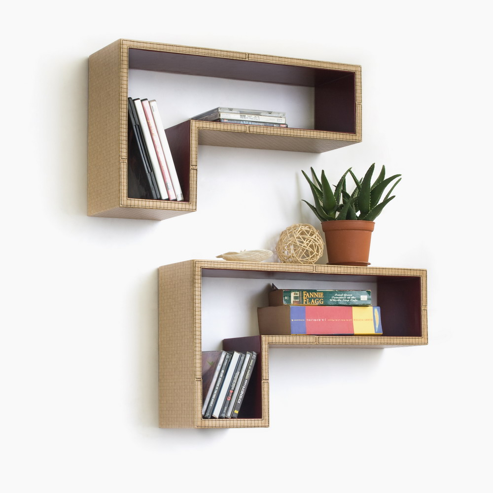 Trista - [austerity Chic] Gun-shaped Wall Shelf / Bookshelf / Floating Shelf (set Of 2)