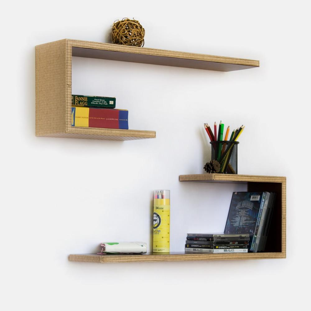 Trista - [beige Grid] Crutch-shaped Leather Wall Shelf / Bookshelf / Floating Shelf (set Of 2)